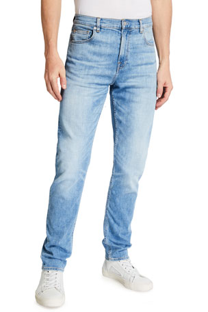 7 for all mankind Men's Luxe Performance: Adrien Madison Light-Wash Slim Jeans