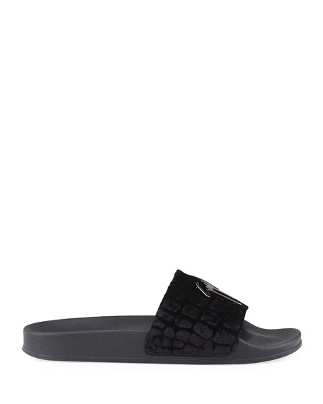 Image 3 of 4: Giuseppe Zanotti Men's Meredith Croc-Print Velvet Slide Sandals