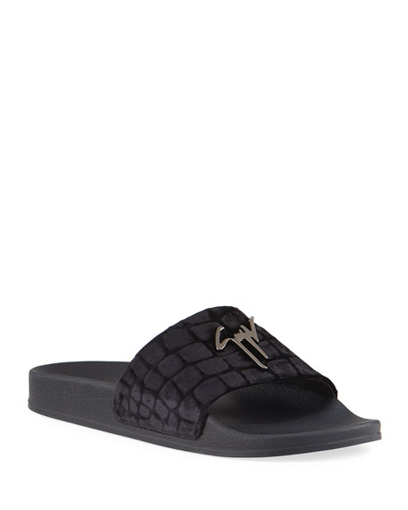 Image 1 of 4: Giuseppe Zanotti Men's Meredith Croc-Print Velvet Slide Sandals