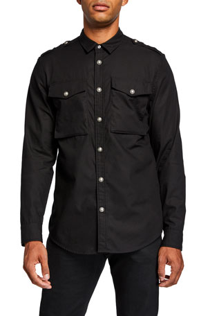 Balmain Men's Sport Shirt With Back Logo