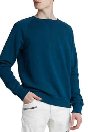 Balmain Men's Solid Sweatshirt w/ Embossed Sleeves