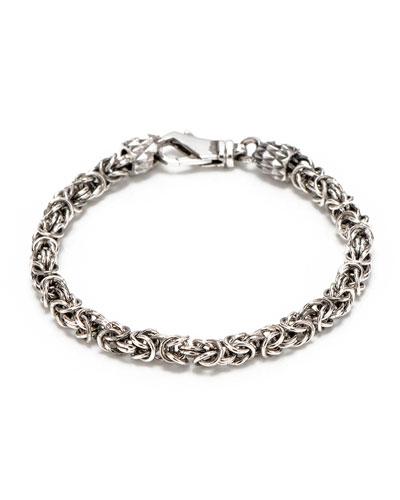 Men's Sterling Silver Byzantine Chain Bracelet