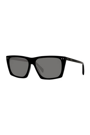 Celine Men's Rectangle Solid Acetate Sunglasses