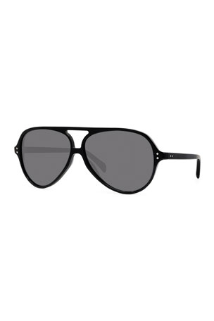 Celine Men's Polarized Double-Bridge Aviator Sunglasses