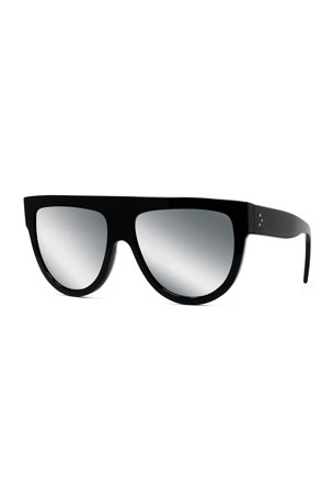 Celine Men's Smoke Mirror Solid Plastic Sunglasses