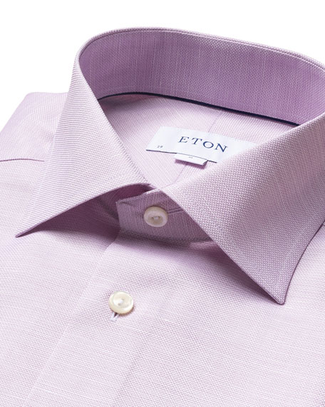 Image 2 of 3: Eton Men's Slim-Fit Textured Cotton-Linen Dress Shirt