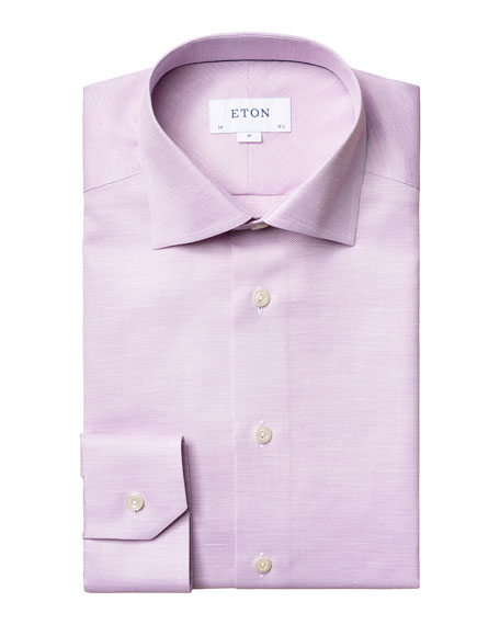Image 1 of 3: Eton Men's Slim-Fit Textured Cotton-Linen Dress Shirt