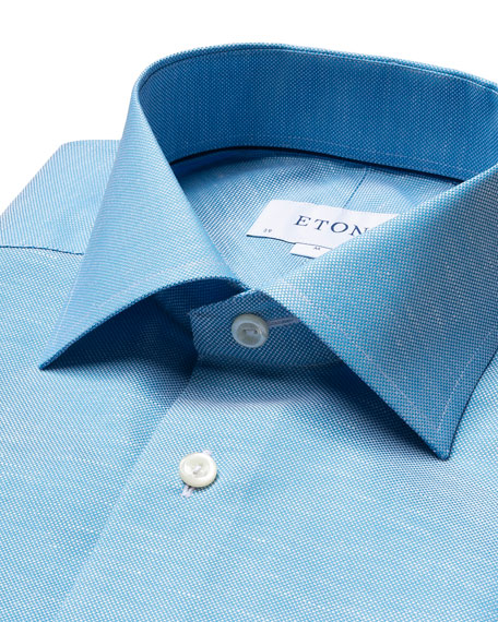 Image 2 of 4: Eton Men's Contemporary-Fit Textured Solid Cotton-Linen Dress Shirt