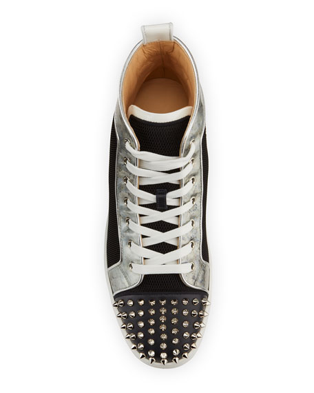 Image 2 of 5: Christian Louboutin Men's Lou Spikes Orlato Mesh/Leather High-Top Sneakers