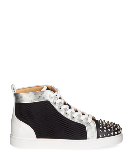 Image 3 of 5: Christian Louboutin Men's Lou Spikes Orlato Mesh/Leather High-Top Sneakers