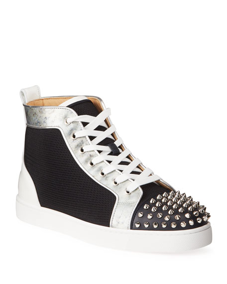 Image 1 of 5: Christian Louboutin Men's Lou Spikes Orlato Mesh/Leather High-Top Sneakers