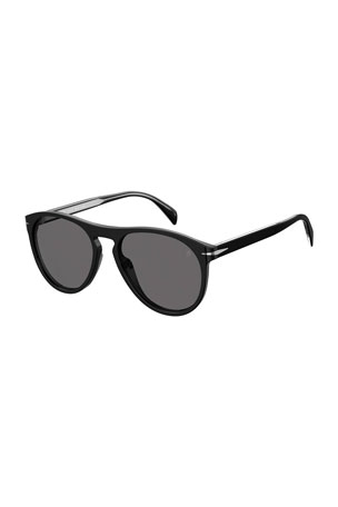 David Beckham Men's Polarized Round Acetate Sunglasses