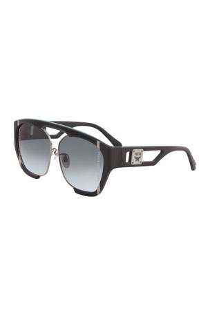 MCM Men's Gradient Cutout-Frame Aviator Sunglasses