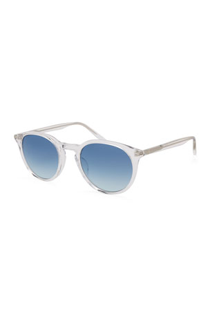Barton Perreira Men's Round Gradient Transparent Acetate Sunglasses
