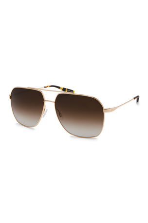 Barton Perreira Men's Aeronaut Metal Gradient Aviator Sunglasses