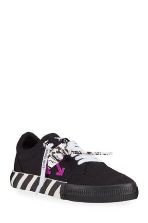 Off-White Men's Arrow Vulcanized Leather Sneakers, Black/Purple