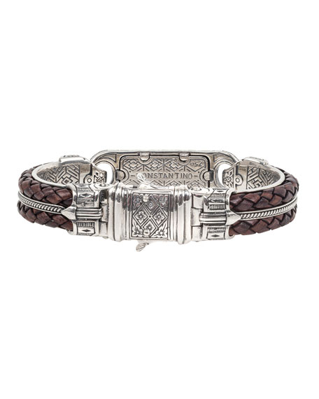 Image 3 of 3: Konstantino Men's Perseus Two-Row Leather/Tiger's Eye Bracelet, Size M