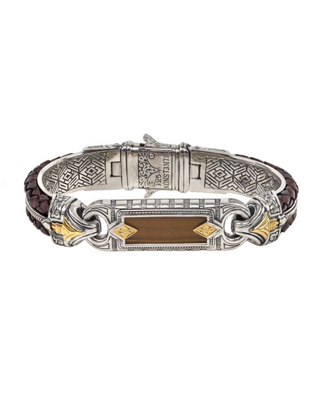 Image 1 of 3: Konstantino Men's Perseus Two-Row Leather/Tiger's Eye Bracelet, Size M
