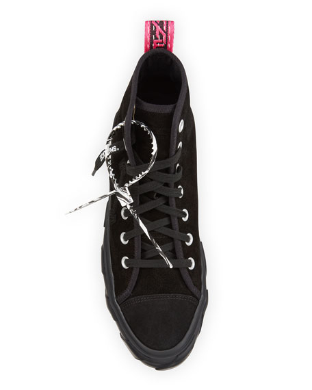 Image 2 of 4: Off-White Men's Tonal Suede Vulcanized Mid-Top Sneakers