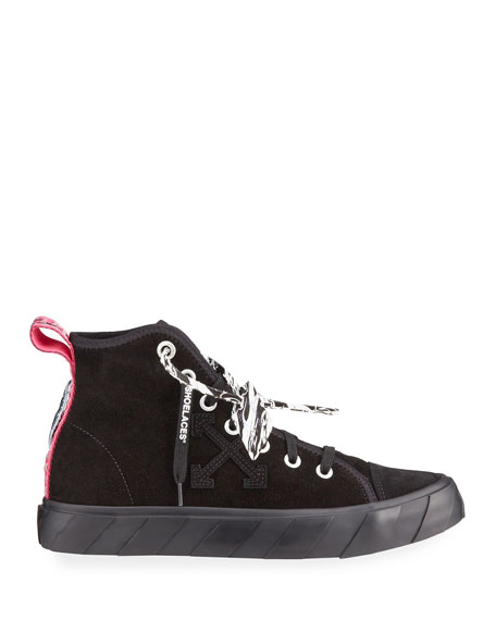 Image 3 of 4: Off-White Men's Tonal Suede Vulcanized Mid-Top Sneakers