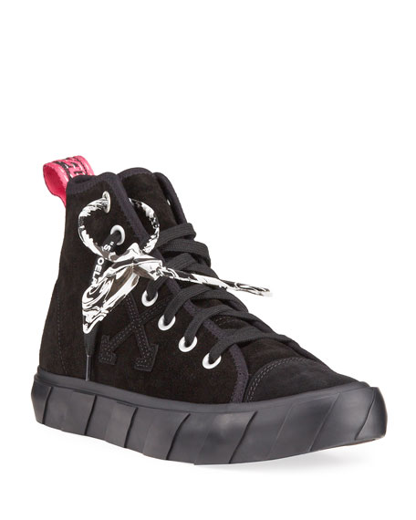 Image 1 of 4: Off-White Men's Tonal Suede Vulcanized Mid-Top Sneakers