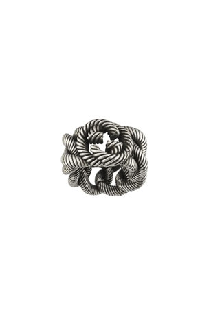 Gucci Men's Interlocking G Sterling Silver Gourmette Ring, Size 10.5