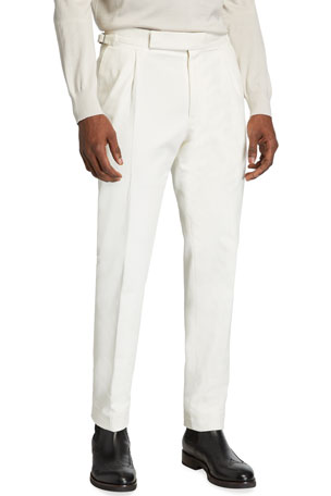 Ermenegildo Zegna Men's Single-Pleat Cotton Pants