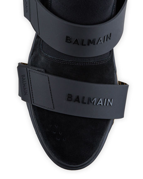 Image 2 of 4: Balmain Men's B-Bold Double Logo Grip-Strap High-Top Sneakers