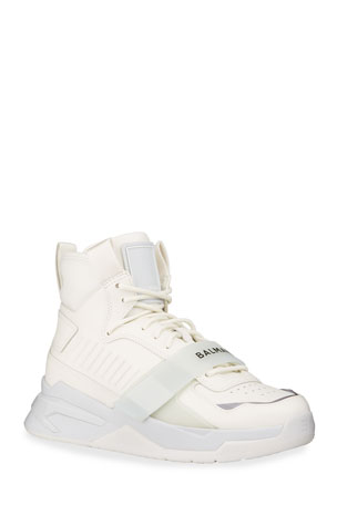 Balmain Men's B-Ball Tonal Leather High-Top Sneakers