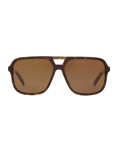 Image 2 of 3: Dolce & Gabbana Men's Square Acetate Double-Bridge Sunglasses