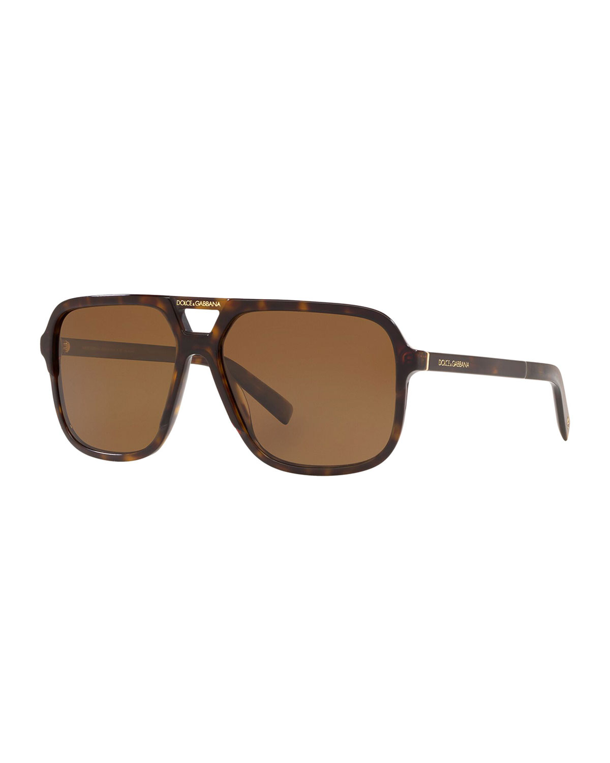 Dolce & Gabbana Men's Square Acetate Double-Bridge Sunglasses