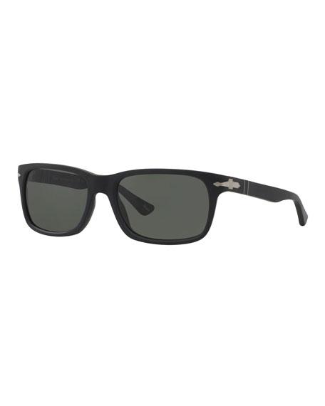 Persol Men's Polarized Square Acetate Sunglasses