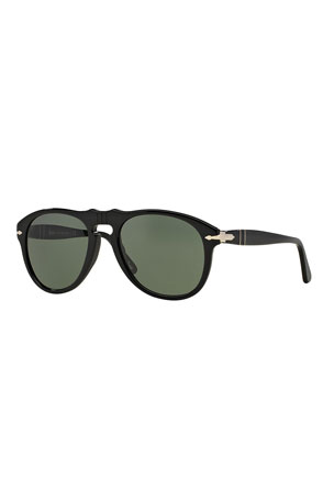 Persol Men's Aviator Solid Acetate Keyhole Sunglasses