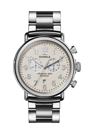 Shinola Men's 47mm Runwell 2-Eye Chronograph Bracelet Watch