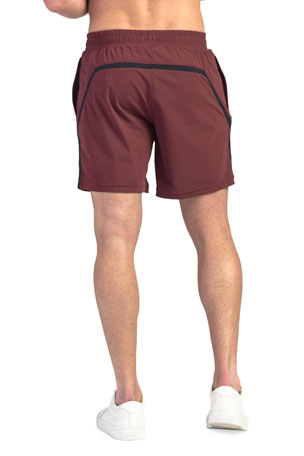 Gold Retro Running Shorts with Maroon Trim Large