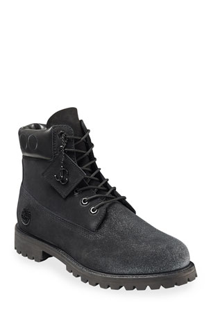 Jimmy Choo Men's Nubuck Hiker Boots w/ Glitter Spray