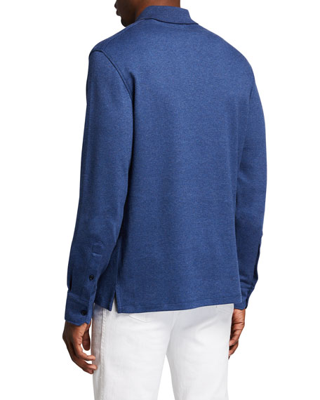 Image 2 of 2: Ermenegildo Zegna Men's Brushed Cotton Long-Sleeve Polo Shirt