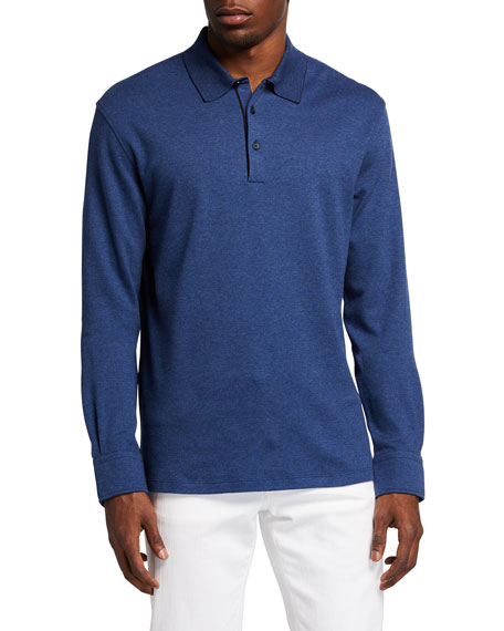 Image 1 of 2: Ermenegildo Zegna Men's Brushed Cotton Long-Sleeve Polo Shirt