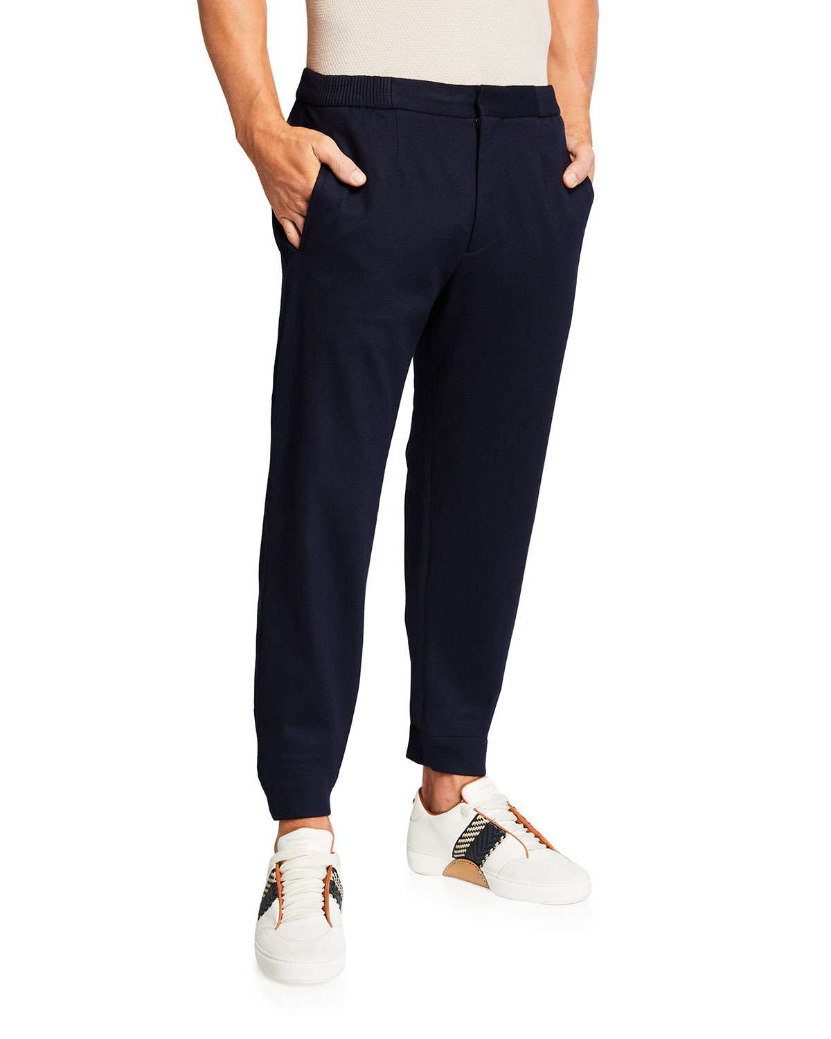 Ermenegildo Zegna Men's Solid Wool Jogger Pants