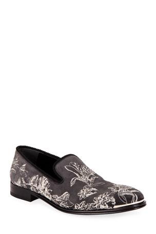 Alexander McQueen Men's Floral Suede Venetian Loafers