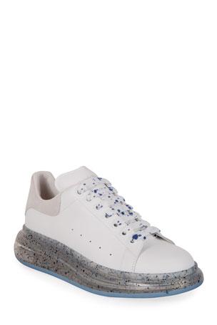 Alexander McQueen Men's Speckled-Sole Leather Sneakers