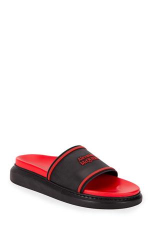 Alexander McQueen Men's Two-Tone Rubber Slide Sandals