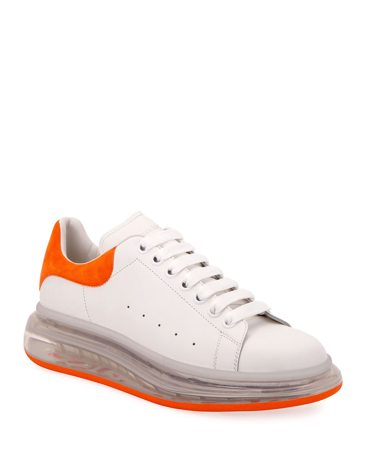 Clear-Sole Leather/Suede Sneakers