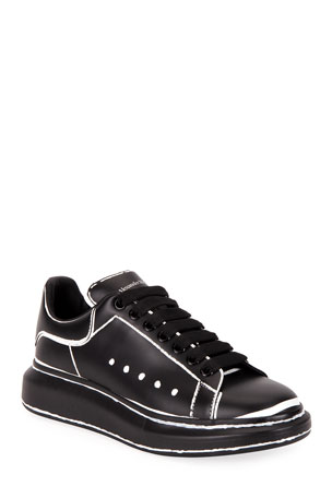 Alexander McQueen Men's Leather Sneakers with Outline Detail
