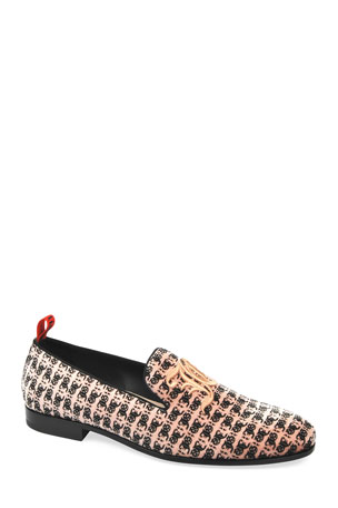 John Galliano Paris Men's Printed Loafers w/ Embroidery