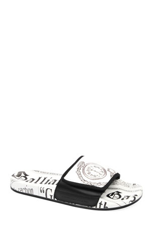 John Galliano Paris Men's Gazette Leather Pool Slide Sandals