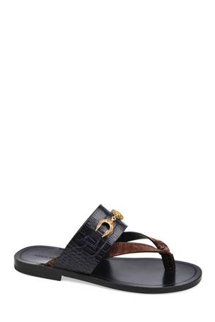 Roberto Cavalli Men's Croco Embossed Thong Sandals