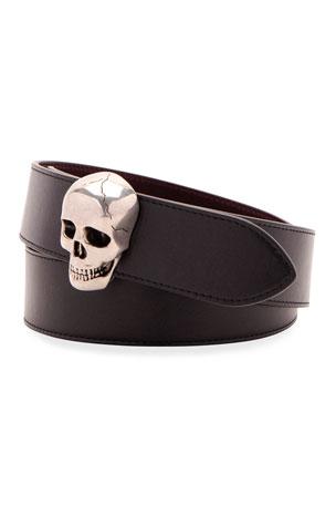 Alexander McQueen Men's 3D Skull-Buckle Leather Belt