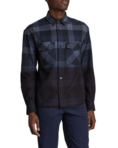 Image 1 of 2: Kenzo Men's Ombre Plaid Overshirt