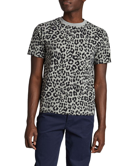 Image 1 of 2: Kenzo Men's Leopard-Print Cotton Tee